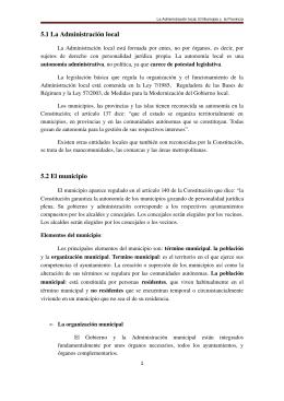 La Administración Local, el Municipio y la Provincia