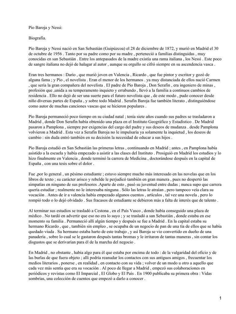 Pío Baroja y Nessi: Biografía.