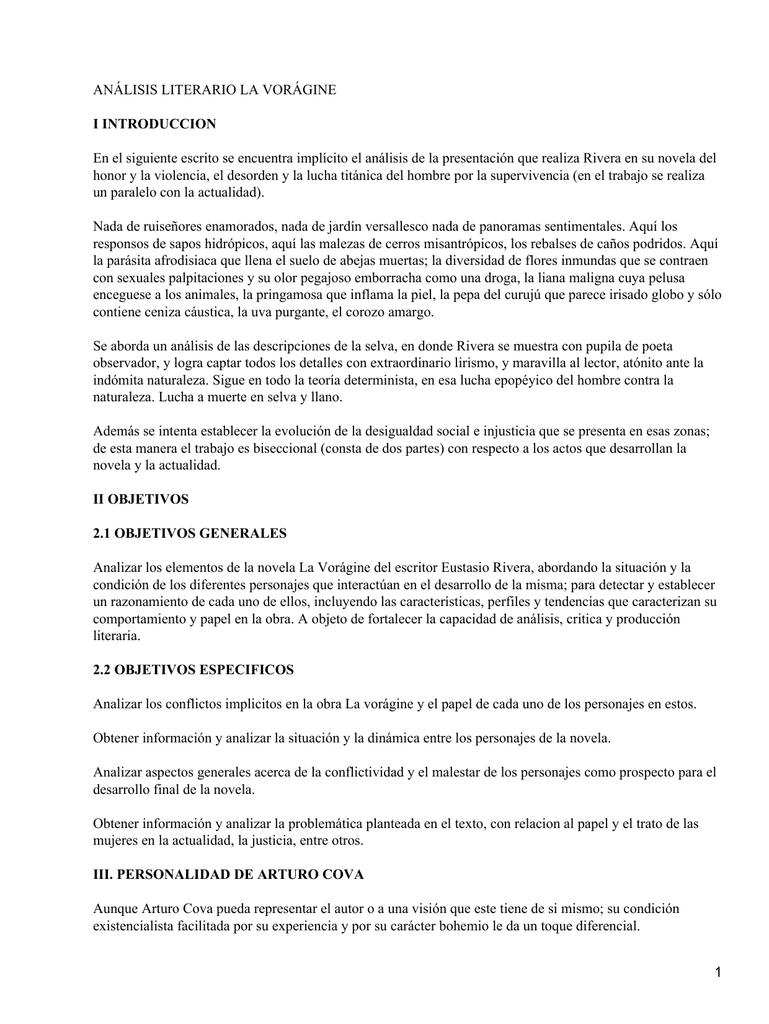 Análisis Literario La Vorágine I Introduccion