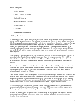 Ficha bibliográfica Autor: Anónimo Título: Lazarillo de Tormes Editorial: Edelvives