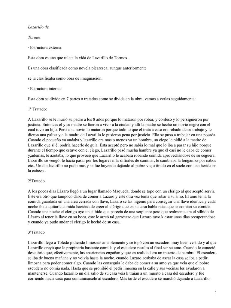 Lazarillo De Tormes Estructura Externa