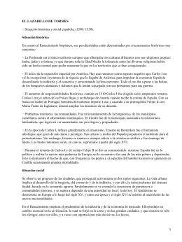 EL LAZARILLO DE TORMES Situación histórica