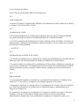 Ley 29/1994, de 24 de diciembre, de arrendamientos urbanos