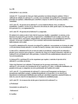 Ley 298 de Enfermería en Argentina
