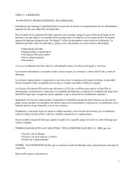 TEMA 11: LIDERAZGO CONCEPTO Y MODELO INTEGRAL DE LIDERAZGO. •