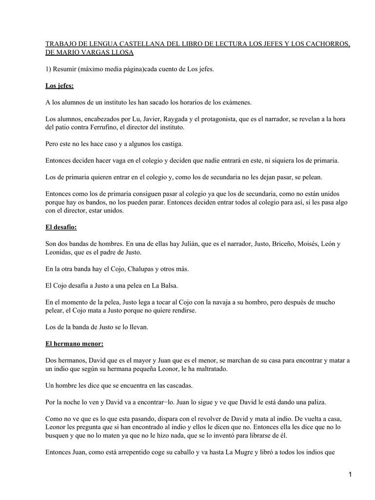 TRABAJO DE LENGUA CASTELLANA DEL LIBRO DE LECTURA LOS JEFES... DE ...