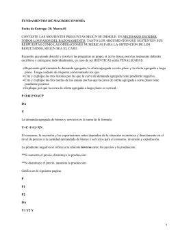 FUNDAMENTOS DE MACROECONOMÍA Fecha de Entrega: 20. Marzo.01