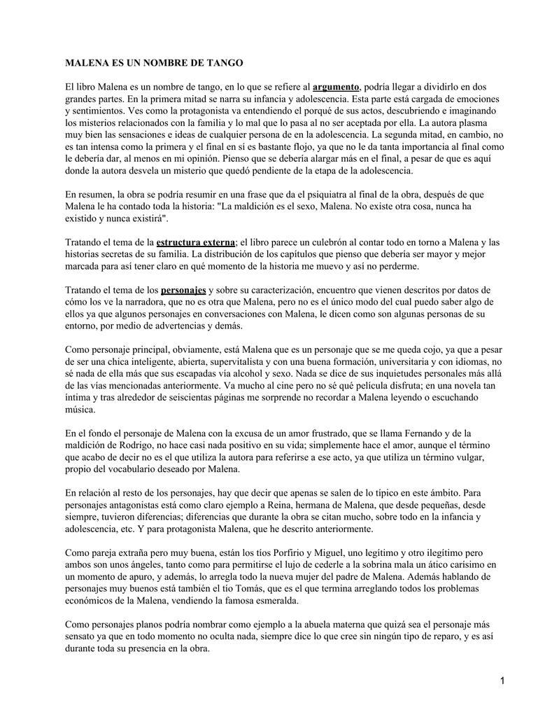 Malena Es Un Nombre De Tango Almudena Grandes