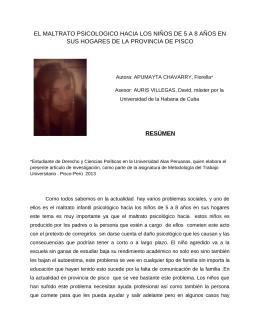 Maltrato psicológico a niños en la provincia de Pisco