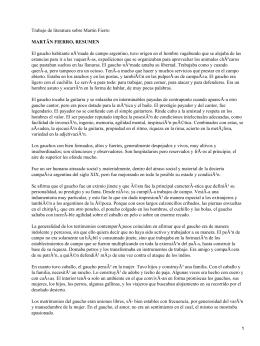 Trabajo de literatura sobre Martin Fierro MARTÃN FIERRO, RESUMEN