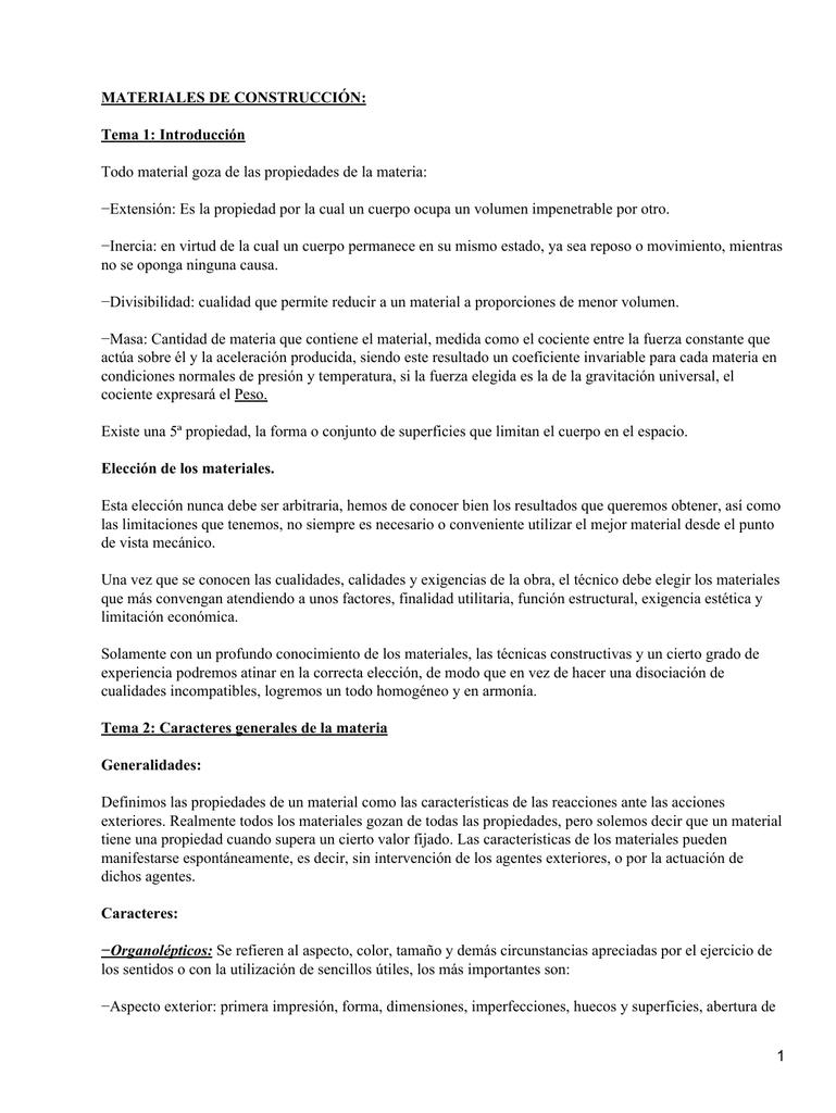 MATERIALES DE CONSTRUCCIÓN: Tema 1: Introducción
