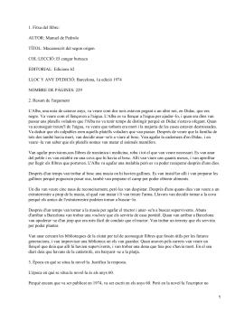 1. Fitxa del llibre: AUTOR: Manuel de Pedrolo COL·LECCIÓ: El cangur butxaca