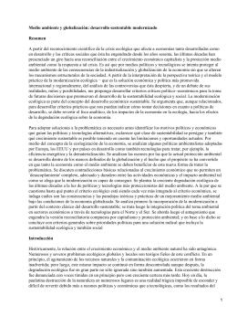 Medio ambiente y globalización: desarrollo sostenible modernizado; Judith A. Cherni