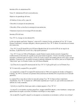 Introducción a la administración Tema 10. Administración de la mercadotecnia