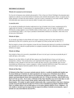 METODOS NATURALES Método de la amenorrea de la lactancia