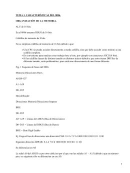 TEMA 1. CARACTERÍSTICAS DEL 8086. ORGANIZACIÓN DE LA MEMORIA.