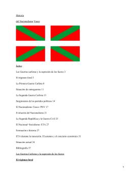 Historia del Nacionalismo Vasco Índice