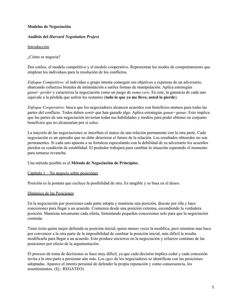 Modelos De Negociación Harvard Negotiation Project