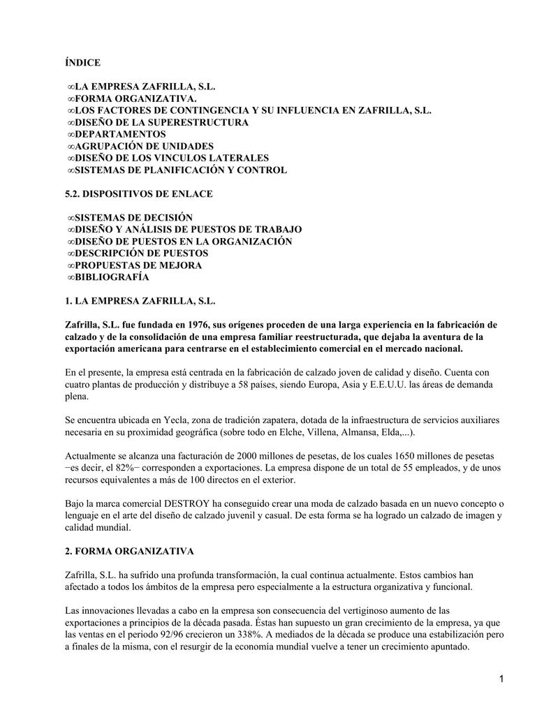 Organización de empresas: Zafrilla
