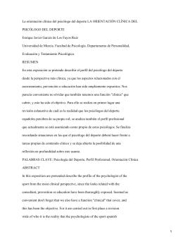 Orientación clínica del psicólogo deportivo; Enrique Javier Garcés de Los Fayos Ruiz