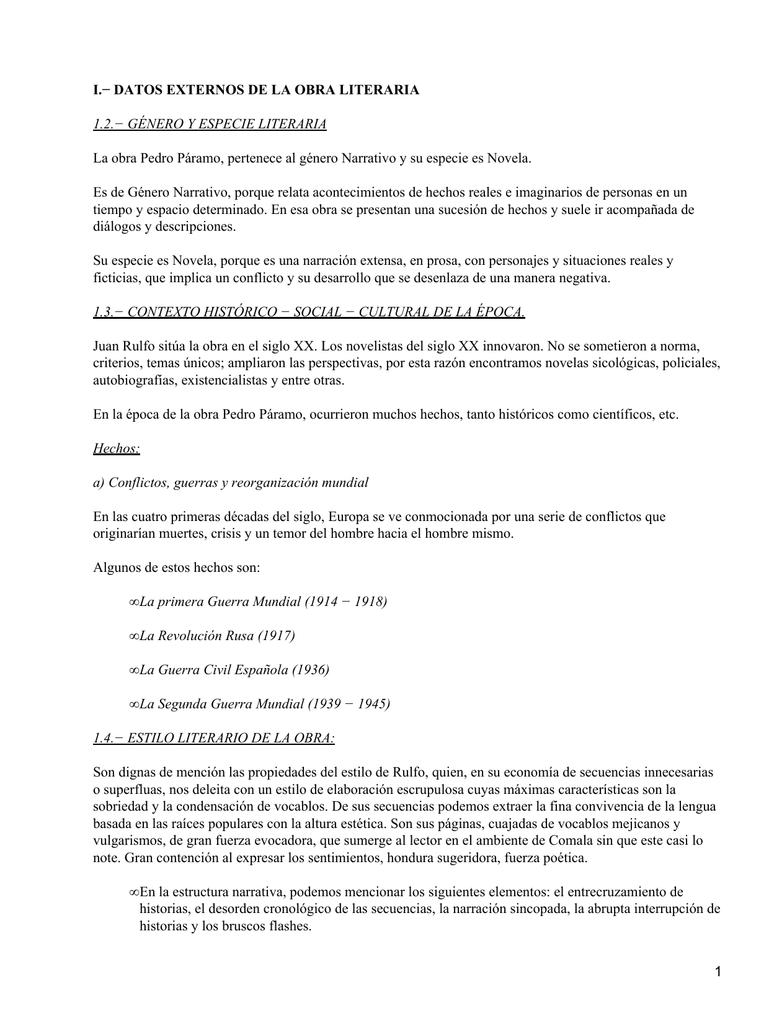 I Datos Externos De La Obra Literaria
