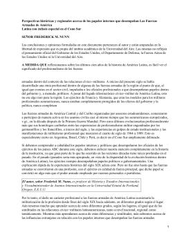 Perspectivas de los papeles que desempeñan Las Fuerzas Armadas de América Latina; Frederick Nunn