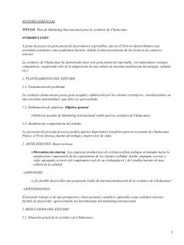 Plan de Márketing Internacional para cerámica de Chulucanas