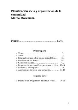 Planificación socia y organización de la comunidad; Marco Marchioni