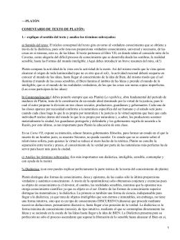 −−PLATÓN COMENTARIO DE TEXTO DE PLATÓN: