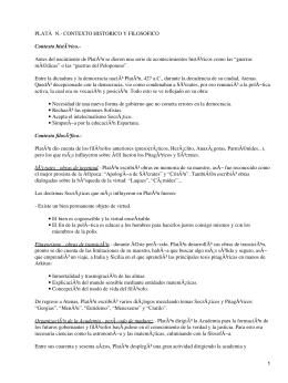 PLATà N.- CONTEXTO HISTORICO Y FILOSOFICO Contexto histórico.-