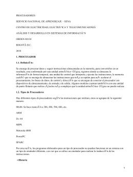 PROCESADORES SERVICIO NACIONAL DE APRENDIZAJE − SENA