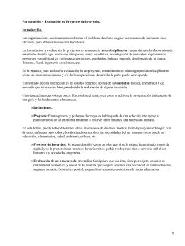 Formulación y Evaluación de Proyectos de inversión. Introducción.