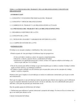 TEMA 1: LA PSICOLOGIA DEL TRABAJO Y DE LAS ORGANIZACIONES.... ORGANIZACIÓN 1.1. CONCEPTO Y FUNCIONES PSICOSOCIALES DEL TRABAJO INTRODUCCION