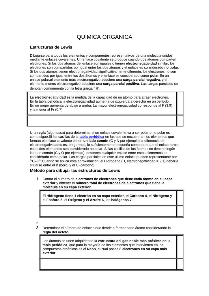 Quimica Organica Estructuras De Lewis