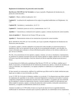 Real Decreto 1942/1993, de 5 de Noviembre, Reglamento Instalaciones de protección contra Incendios