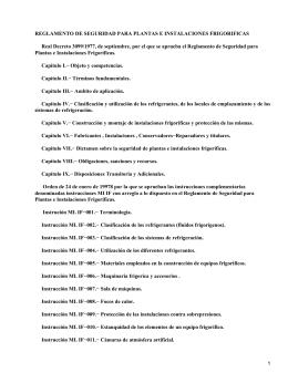 Real Decreto 3099/1977, septiembre, Reglamento Seguridad para Plantas e Instalaciones Frigoríficas