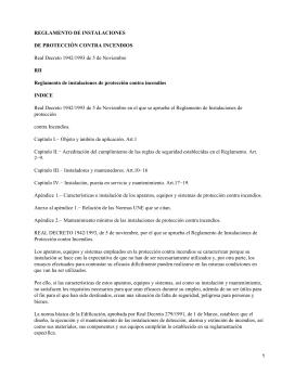 Reglamento de instalaciones de protección contra incendios. Real Decreto 1942/1993 de 5 de Noviembre