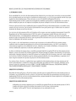 Regulación de las Telecomunicaciones en Colombia