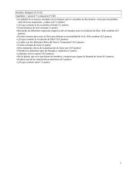 Nombre: Religión 25/11/02 Apellidos: 1 parcial 1ª evaluación 4º ESO •