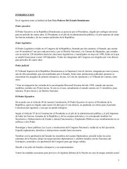 INTRODUCCION Los Tres Poderes Del Estado Dominicano Poder ejecutivo