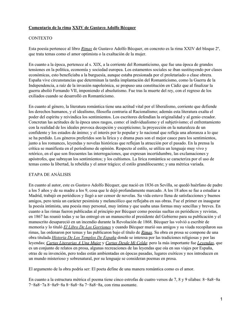 Comentario De La Rima Xxiv De Gustavo Adolfo Bécquer