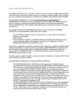 CHILE: LA REVOLUCIÓN QUE NO FUE En septiembre de 1970,