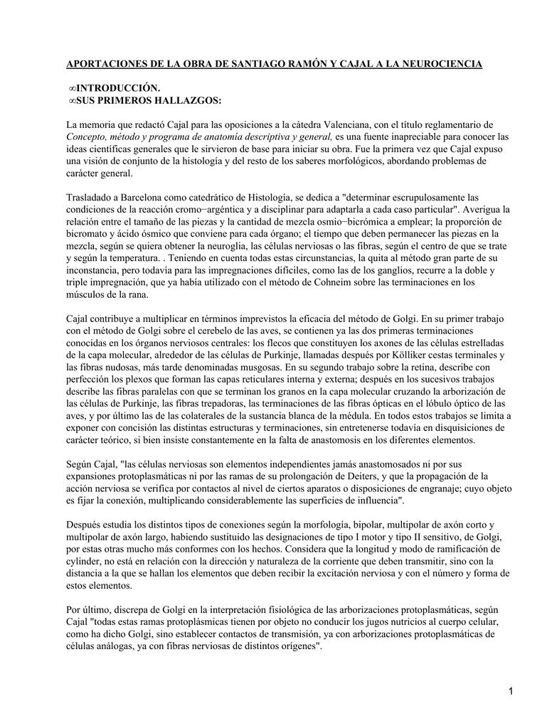 Santiago Ramón y Cajal y la Neurociencia