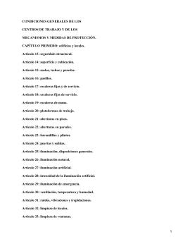 CONDICIONES GENERALES DE LOS CENTROS DE TRABAJO Y DE LOS
