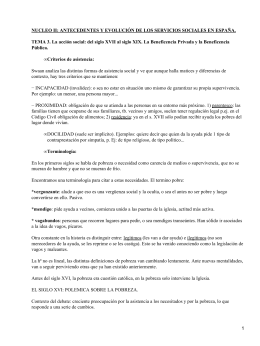 NUCLEO II: ANTECEDENTES Y EVOLUCIÓN DE LOS SERVICIOS SOCIALES EN... TEMA 3. La acción social: del siglo XVII al siglo...