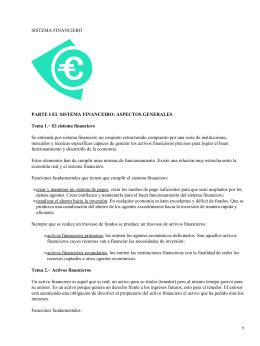 SISTEMA FINANCIERO PARTE I EL SISTEMA FINANCEIRO: ASPECTOS GENERALES