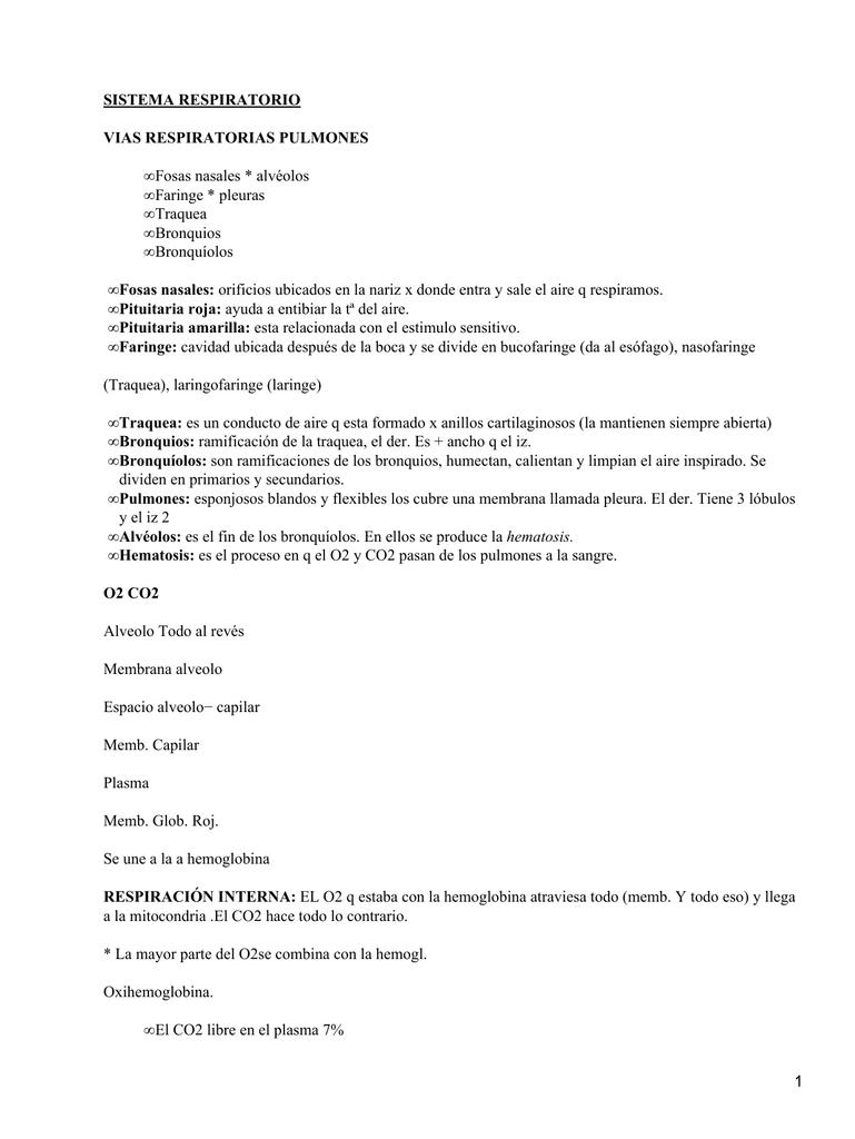 SISTEMA RESPIRATORIO VIAS RESPIRATORIAS PULMONES Fosas nasales ...
