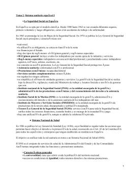 Tema 2. Sistema sanitario español I La Seguridad Social en España •
