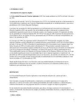 1. INTRODUCCION: descripcion de la empresa elegida: • Universidad Peruana de Ciencias Aplicadas
