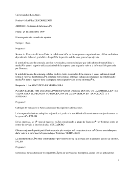 Universidad de Los Andes Prueba #1 /PAUTA DE CORRECION